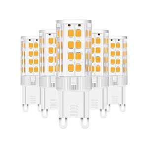 G9 LED Bulbs, AMAZING POWER 5W LED G9 50W Equivalent Bi Pin G9 Halogen Bulbs for Chandelier Lighting Non-Dimmable Warm White 3000K 5-Pack