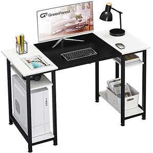 GreenForest Computer Desk 47 inch,Home Office Desk,Adjustable Storage Shelves Space Saving for Bedroom Dormitory,White and Black