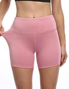 "YUANRANER 5"" Workout Shorts for Women High Waist Biker Yoga Running Athletic Short with Pockets Pink-XXL"