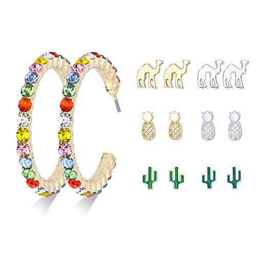 Multiple Stud Earrings set, 7 Pairs Earrings Jackets for Women Pineapple Cactus Camel Hypoallergenic Cubic Zirconia Earings Jewelry Gift (7 pairs)