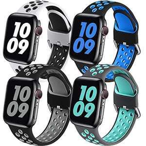 Easuny Sport Band Compatible with Apple Watch 40mm 38mm Women Men - Soft & Durable Silicone Replacement Strap Breathable Wristband with Air Holes for iWatch SE Series 6 5 4 3 2 1, S/M 4 Pack
