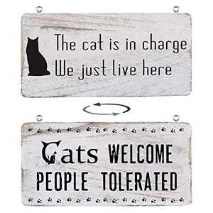 Home Decor Signs Farmhouse Cat Signs for Home Decor Wall, Rustic Home Decor Home Sign Wall Decor Inspirational Rustic Wooden Wall Art Decor Home Decor