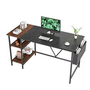 55 inch Computer Desk with 2-Tier Bookshelf Home Office Writing Workstation Study Desk Modern Simple Style Laptop Table with Storage Bag