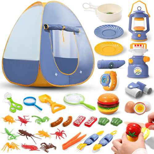 36 PCS Kids Play Tent Camping Tent with Outdoor Exploration Kit and Bug Catching Kit, Outside Toys for Toddlers