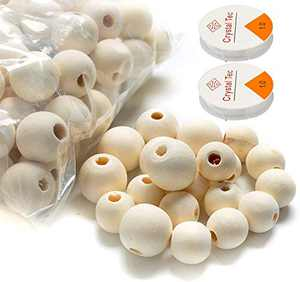 500Pcs Unfinished Wooden Beads, Garland Wooden Beads Bulk Wood Beads for Crafts DIY Jewelry Making, Large Size Wooden Balls(12,16,20mm)