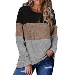Women Long Sleeve Color Block Tunic Cute Casual Loose Fit Pullover Sweatshirt Top Khaki