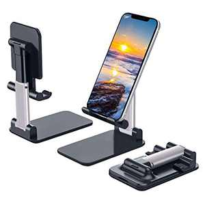Cell Phone Stand, Heroanky Angle & Height Adjustable Desk Phone Holder with Stable Anti-Slip Design Foldable Cell Phone Holder Compatible with All Mobile Phones Smartphones iPad Mini Kindle(Black)