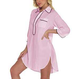 Lu's Chic Women's Cotton Nightgown Short Sleepshirt Button Nightshirt Lace Pocket Nightdress Half Sleeve Sleepwear Pink Small