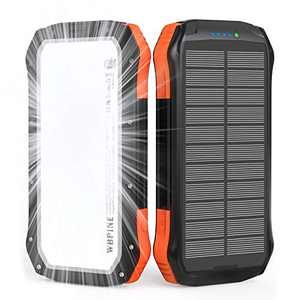 Solar Power Bank, Portable Charger 20,100mAh External Battery Pack 2 USB Output Ports with Flashlight Compatible with iPhone,iPad,Tablets,Android Cell Phone
