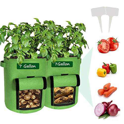 Potato Grow Bags, 2 Pack Heavy-Duty Plant Grow Bag with Dual Handles and Velcro Window Ideal for Growing Tomatoes, Carrots, Onions, Fruits, and Vegetables(7 Gallon)
