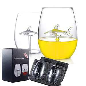 Stemless Wine Glasses for Red or White Wine or Fruit Juice,10oz/300ml White Crystal Durable Unbreakable Shark Wine Glass Set of 2 for Mother's Day Friends Home Party Wedding Christmas