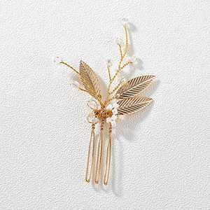 SWEETV Gold Wedding Hair Pins,Crystal Beads Wedding Hair Pieces Bridal Hair Accessories for Women Wedding