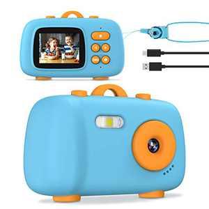 Tyhbelle Kids Camera, Digital Camera for Boys & Girls, Upgrade Shockproof Digital Video Camera Camcorder for Kids Age 3- 12 Toy Camera (Blue No Card)