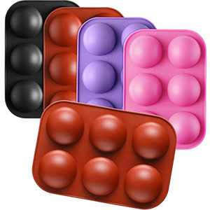 4 Pieces 6 Holes Round Ball Silicone Molds Sphere Candy Molds Half Ball Caking Molds Ball Shaped Baking Molds for Chocolate Cake Jelly Making Art Crafts (Brick Red, Pink, Purple, Black)