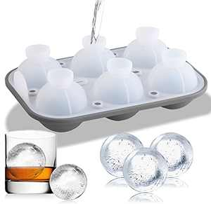 ttttttt Ice Cube Trays for Freezer, Silicone Ice Cube Molds, Easy-Release Sphere Ice Ball Molds with Lid Flexible Stackable 6 Big Ice Ball Maker for Whiskey Cocktails(Grey)