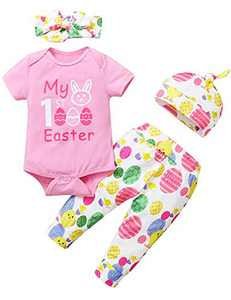 Shalofer Baby Girls My First Easter Bodysuit Outfit Infant 1st Easter Day Clothing Set (Pink, 3-6 Months)