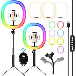 【Upgraded】 10-inch Selfie Ring Light with Adjustable Tripod Stand & Cell Phone Holder, LED O Ring Light for Live Stream, YouTube Video, Makeup (10-inch-RGB+3colours)