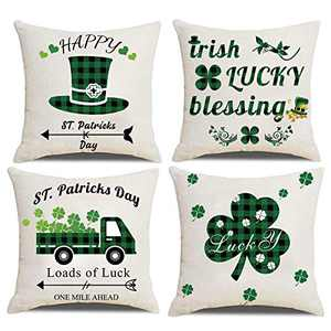 Pack of 4 Happy St. Patrick's Day Throw Pillow Covers Lucky Green Shamrock Clover Hats Square Pillowcases 18×18 Inch / 45×45 cm Linen Holiday Decorative Accent Pillows Case Warm Quote Cushion Cover