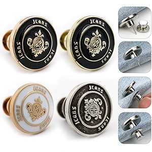 4 PCS Button Pins for Jeans - Jean Button Pins,Perfect Fit Instant Button No Sew,Pants Button Pins Metal Adds Or Reduces an Inch to Any Pants Waist in Seconds - Button Pins Jeans.