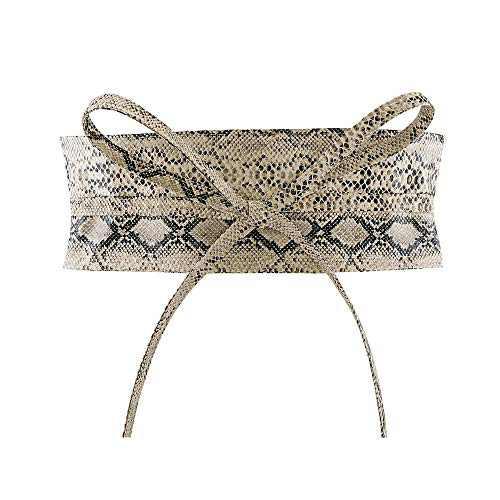 CHIC DIARY Fashion Women Faux Leather Bow Tie Waistband Elastic Stretch Waist Strap Cummerbund Waist Band Belt for Dress