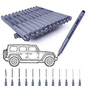 Precision Micro-Line Pens, Rilanmit Fineliner, Multiliner, Waterproof Archival Ink, Artist Illustration, Sketching, Technical Drawing, Office Documents & Scrapbooking 12 / Set, Black