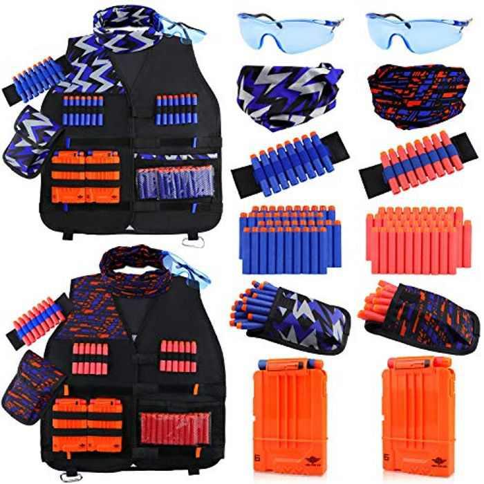 UWANTME 2 Pack Kids Tactical Vest Kit for Nerf Toy Guns N-Strike Elite Series Adjustable Tactical Vest Jacket Kit for Boys Girls Kids
