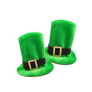St. Patrick's Shamrock Top Hat, Men's and Women's Green Flannel Top Hat, Lrish Festival Party Supplies