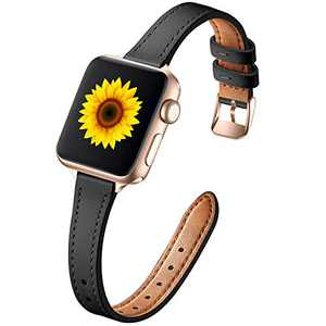 Muranne Leather Band Compatible with Apple Watch SE 38mm 40mm, Slim Thin Dressy Elegant Genuine Leather Strap Compatible with iWatch Series 6 5 4 3 2 1 SE for Women Ladies Girls, Black/Rose Gold