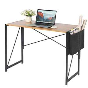 HFG Writing Computer Desk - 39.3 inches Modern Simple Folding Laptop PC Table with Storage Bag for Home Office Study Workstation, Space-Saving Design, No Assemble & Metal Frame (Walnut)