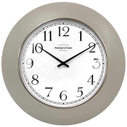 """PresenTime & Co 12"""" Modern Farmhouse Kitchen Wall Clock, Vintage Design, Domed Lens, Morning Gold Silver Ring, Warm Gray Color"""