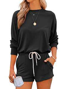 Saslax Women's Solid Color Loungewear Set 2 Piece Long Sleeves Pullover Top and Shorts Pajama Sets Nightwear Sleepwear Pj Set with Pockets Black 4 X-Large