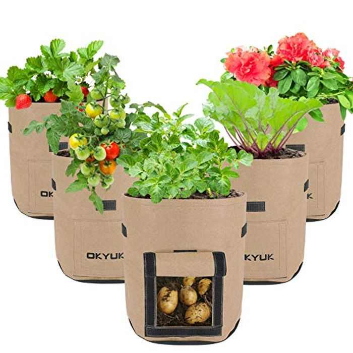Potato Grow Bags, SHANNA 5 Pack 7 Gallon Nonwoven Fabric Plant Grow Bags for Vegetables with Handles, Aeration Potato Bags Tomato Pots for Growing - Brown