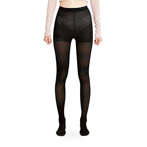 NUKK NUKK 4499 Opaque Pantyhose with Control Top, Slim Shaping Tights, Shapewear Leggings for Women (XL, Black)