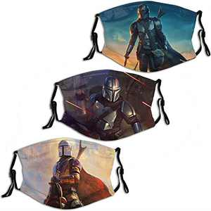 Mandalorian Adjustable Cloth Face Mask 3PC Washable Reusable Breathable Face Cover for Men Women Balaclava Bandanas with 6 Filter