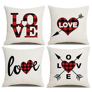 UINI 4 Pack Mother's Day Throw Pillow Covers 18×18 Inch Love Pillow Covers Spring Classic Buffalo Check Plaid Pillowcases Heart Arrow Linen Square Cushion Cover for Bedroom Living Room