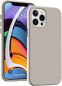 Cucell Compatible with iPhone 12 Pro Max Case 6.7 inch(2020),Liquid Silicone Gel Rubber Full Body Protection Cover Shockproof Durable Drop Proof Shell-Stone