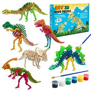 U&C Planet 3D Dinosaur Wooden Puzzle Set Contains 6 Dinosaur Puzzles, 6 Paints and 1 Pen in a Colorful Box for Kids Over 3 Years Old