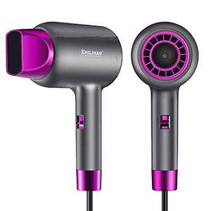 Negative Ions Hair Dryers 1875 Watt Professional Salon Ionic Blow Dryer with Concentrator Nozzle Ceramic Technology Powerful Fast Drying,Gifts for girls girlfriend boyfriend sisters wife,Grey Purple