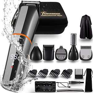Beard Trimmer for Men Electric Razor Waterproof Professional Hair Clippers 6 in 1 Cordless Grooming Kit USB Rechargeable With Travel Case