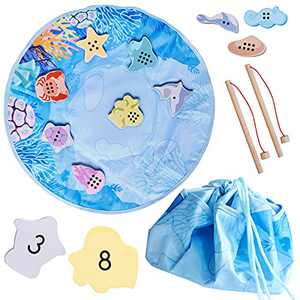 Magnetic Fishing Game for Toddlers - Wooden Counting Toys for Kids Ages 2 3 4 - Learn Numbers & Match Fish Shapes - Travel Montessori Fine Motor Skills Toy - Fishing Rods, Sea Creatures, Storage Bag