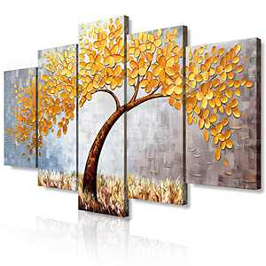 JIMHOMY Modern Floral Abstract Artwork Canvas Wall Art 5 Piece Gray Gold Flowers And Tree Wall Décor Prints Paintings for Living Room Office Decorations Ready to Hang Stretched and Framed Artwork