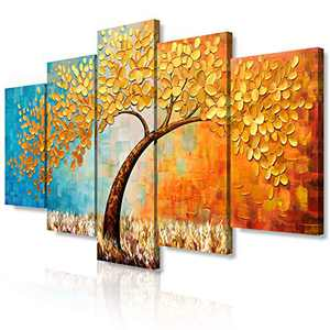 JIMHOMY Modern Floral Abstract Artwork Canvas Wall Art 5 Piece Gold Flowers And Tree Wall Décor Prints Paintings for Living Room Office Decorations Ready to Hang Stretched and Framed Artwork
