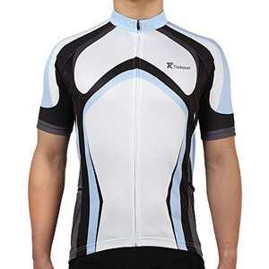 Tiekoun Men's Cycling Jerseys Tops Biking Shirts Short Sleeve Bike Clothing Full Zipper Bicycle Jacket Blue, L (jersey015)