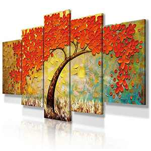 JIMHOMY Modern Floral Abstract Artwork Canvas Wall Art 5 Piece Red Flowers and Tree Wall Décor Prints Paintings for Living Room Office Decorations Ready to Hang Stretched and Framed Artwork