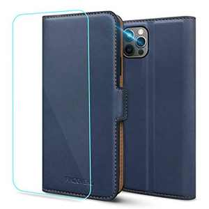 Pinzoveno for iPhone 12 Pro Wallet Case, iPhone 12 Wallet Case, Flip Phone Cover with Card Holder Slots and Screen Protector Kickstand PU Leather Folio Funda iPhone 12/12 Pro Cases for Men - Blue