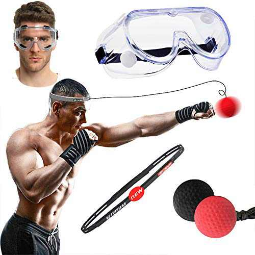 SWYIVY Boxing Reflex Ball with Headband Plus Adjustable Headband and Goggles, Great for Reflex, Timing, Accuracy, Focus and Hand Eye Coordination Training of Boxing