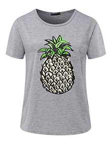 Avanova Women's Pineapple Graphic Printed Tee Short Sleeve Round Neck Casual T Shirt Tops Grey Medium
