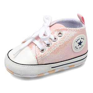 Scurtain Unisex Baby Boys Baby Girls Canvas Sneakers Toddler Sneaker Soft Anti-Slip Sole High Top Sneaker Infant Sneaker First Walkers Crib Shoes Prewalker Sequins Pink 15-21 Months