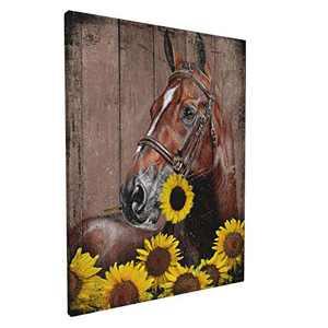 Rustic Wall Art & Horse Sunflower Art - Farmhouse Flowers Animal Wood Grain Giclee Canvas Framed Art Wall Decor for Bathroom Bedroom Live Room 12x16inch