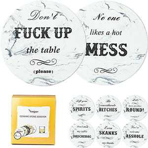 Yeeper Set of 8 Funny Ceramic Coasters for Coffee Table, Gift for Housewarming Birthday House Decor, Conversation Starter, Humor Saying, for Dining Room Table